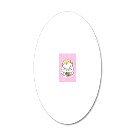 Pink Bride Card 20x12 Oval Wall Decal