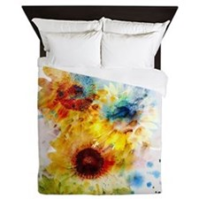 Watercolor Sunflowers Queen Duvet Cover