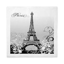 Eiffel Tower Paris B/W Queen Duvet Cover