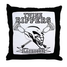 Lacrosse_TwineRippers_White Throw Pillow