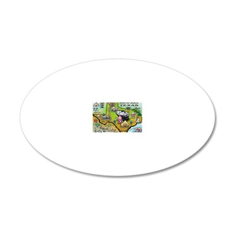 Round Rock TEXAS Map Card 20x12 Oval Wall Decal
