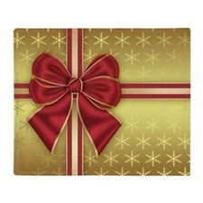 Gold Effect Holiday Package With Bow Throw Blanket