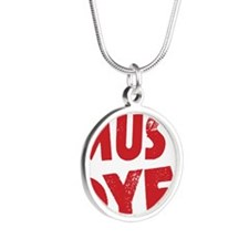 Spell Checker Must Dye Silver Round Necklace