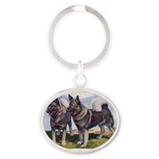 FIN-norwegian-elkhound-watercolor Oval Keychain