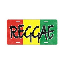 Reggae flag burlap crush-fa Aluminum License Plate