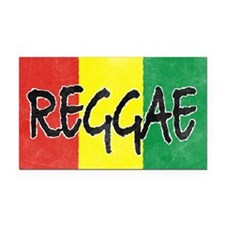 Reggae flag burlap crush-fade Rectangle Car Magnet