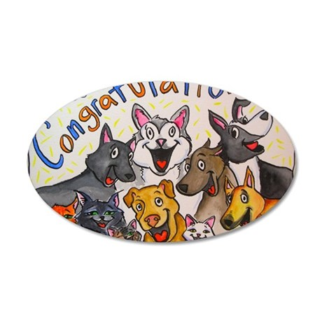 Congratulations 35x21 Oval Wall Decal