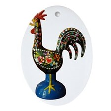 Modern Good Luck Rooster Oval Ornament