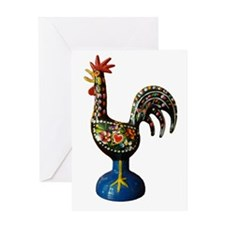 Modern Good Luck Rooster Greeting Card