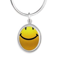 SMILE Silver Oval Necklace