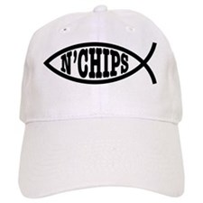 fish_bk_oval_sticker Baseball Cap