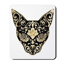 Gold and black mystic cat Mousepad