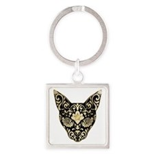 Gold and black mystic cat Square Keychain