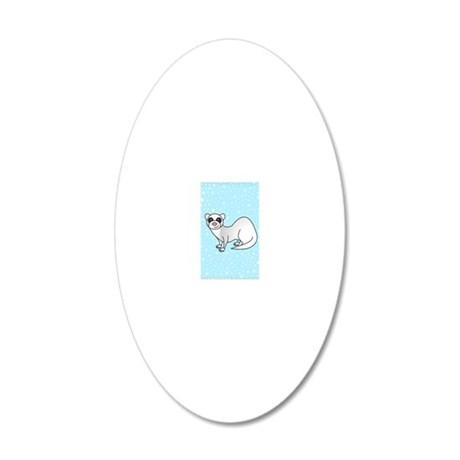 Silver Ferret Blue Star 20x12 Oval Wall Decal
