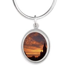 FallChurchSunrise-CARD Silver Oval Necklace