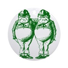 Tweedle Dee and Tweedle Dum Green Round Ornament