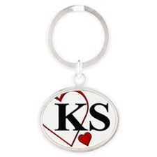KS Kansas Heart. Oval Keychain