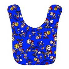 Blue Baseball Pattern Bib