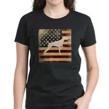 Standard Fit Round Neck - Vizsla On US Flag