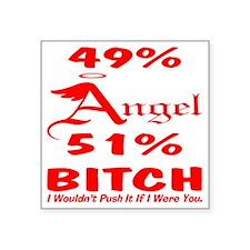 "blk_49_51_Angel_Bitch Square Sticker 3"" x 3"""