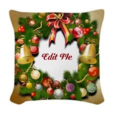 Xmas Wreath Woven Throw Pillow