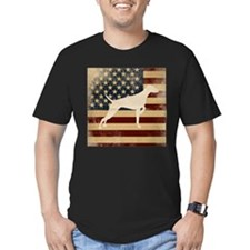 Mens Fitted Round Neck - Vizsla On US Flag