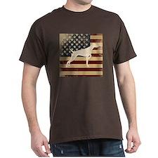 Standard Fit Round Neck - Vizsla On US Flag