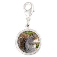 Squirrel Silver Round Charm