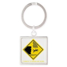 Gravity-Yellow Square Keychain