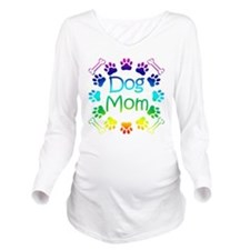 """Dog Mom"" Long Sleeve Maternity T-Shirt"
