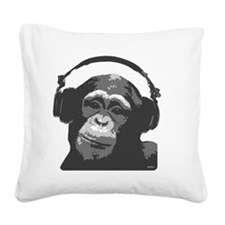DJ MONKEY grey Square Canvas Pillow