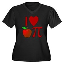 I Heart Appl Women's Plus Size Dark V-Neck T-Shirt