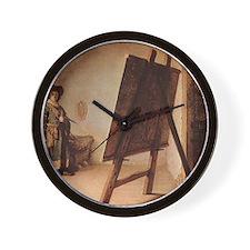 Rembrandt - Artist in his Studio Wall Clock