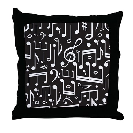 Music Lover Musical Symbols Throw Pillow