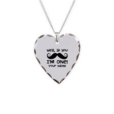 1st Birthday Mustache Personalized Necklace Heart