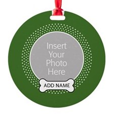 Dog Bone Pet Photo Green Ornament