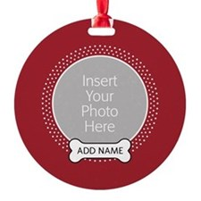 Dog Bone Pet Photo Red Ornament