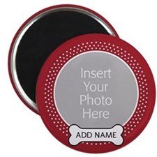 Dog Bone Pet Photo Red Magnets