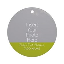 1st Christmas Baby Green Ornament (Round)