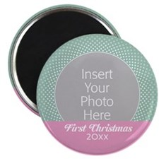 First Christmas Mint Pink Magnets
