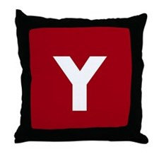 Modern Monogram Red Throw Pillow
