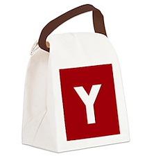 Modern Monogram Red Canvas Lunch Bag