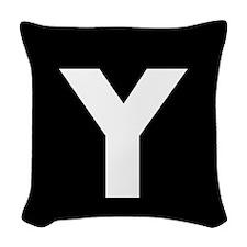 Modern Monogram Black White Woven Throw Pillow