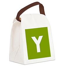 Modern Monogram Lime Green Canvas Lunch Bag