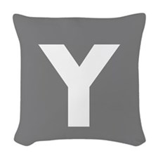 Modern Monogram Gray Woven Throw Pillow