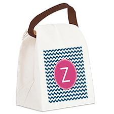 Blue Pink Monogram Canvas Lunch Bag