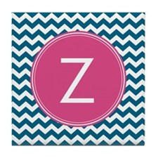 Blue Pink Monogram Tile Coaster