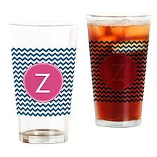 Blue Pink Monogram Drinking Glass