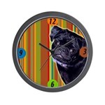 Black Pug Wall Clock