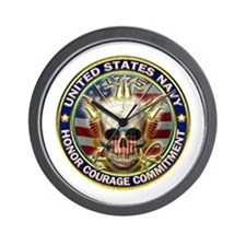 USN Navy Eagle Skull Wall Clock
